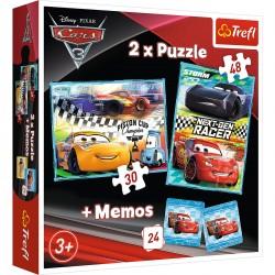 90706 TREFL PUZZLE 2W1 + MEMOS CARS 3
