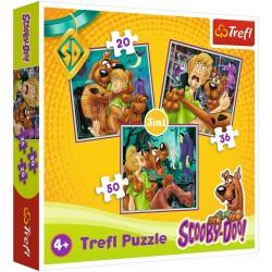 34145 TREFL PUZZLE 3W1 SCOOBY-DOO UWAGA! DUCHY!