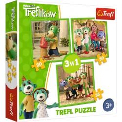 34838 TREFL PUZZLE 3W1 RODZINA TREFLIKÓW
