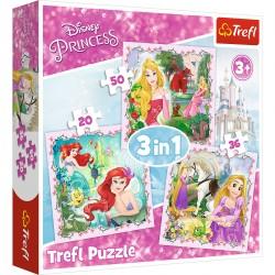 34842 TREFL PUZZLE 3W1 KSIĘŻNICZKI DISNEYA