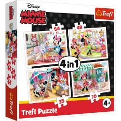 34315 TREFL PUZZLE 4W1 PIĘKNA MYSZKA MINNIE