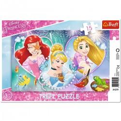 31279 TREFL PUZZLE RAMKOWE 15 TRZY UŚMIECHNIĘTE KSIĘŻNICZKI