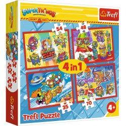 34376 TREFL PUZZLE 4W1 SUPER THINGS TAJNI SZPIEDZY